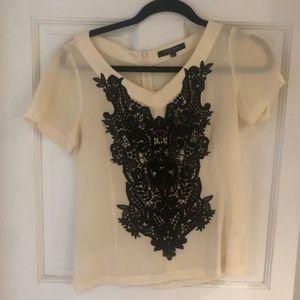 Nanette Lepore Short Sleeve Embroidered Blouse